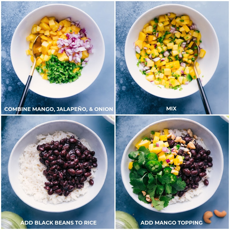Process shots for creating the mango topping: Combine all ingredients and mix well; add to the beans and rice.