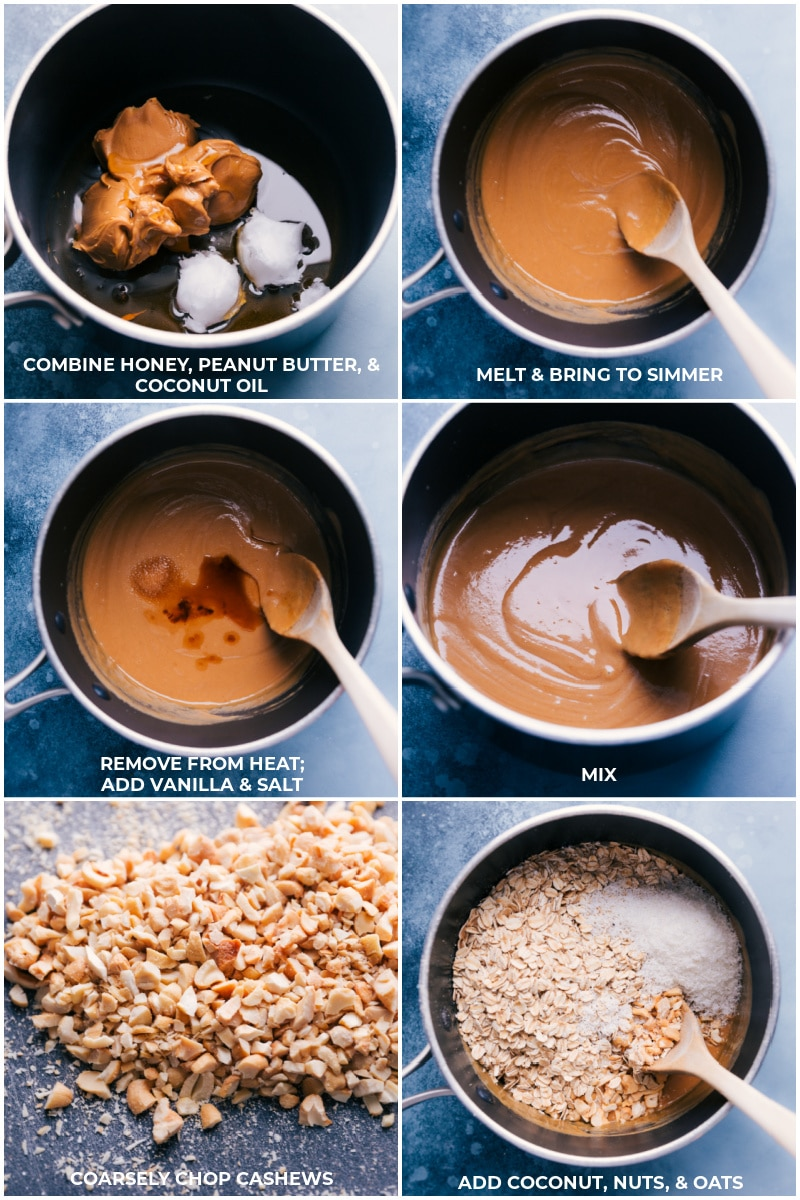 Process shots: combine honey, peanut butter and coconut oil; melt and bring to a simmer; remove from heat and add vanilla and salt; coarsely chop cashews and add to the mixture, along with coconut and oats.
