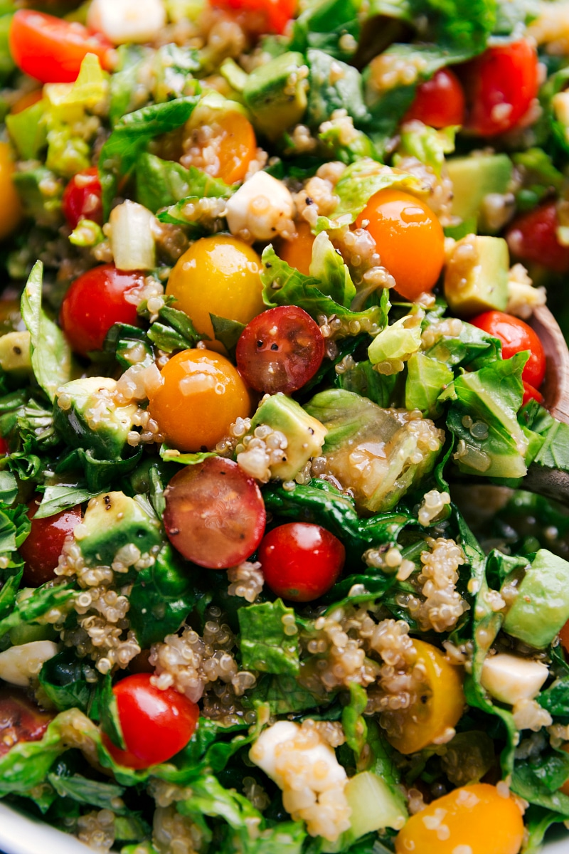 Close-up view of the completed Caprese Quinoa Salad.
