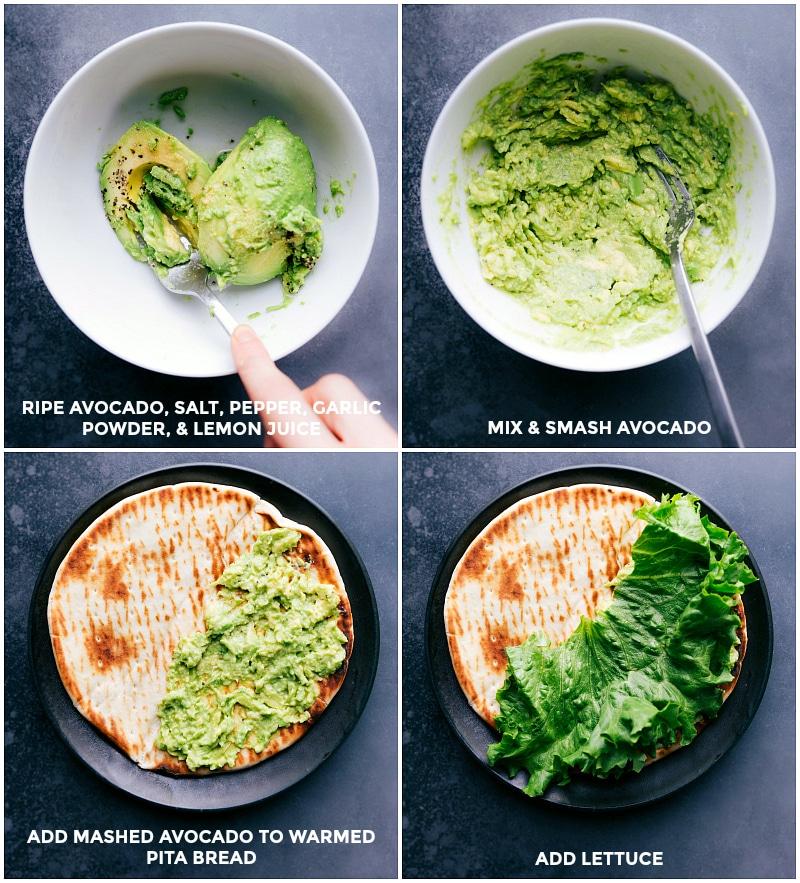 Process shots: Mash avocado and seasonings; spread onto warmed pita and add lettuce.