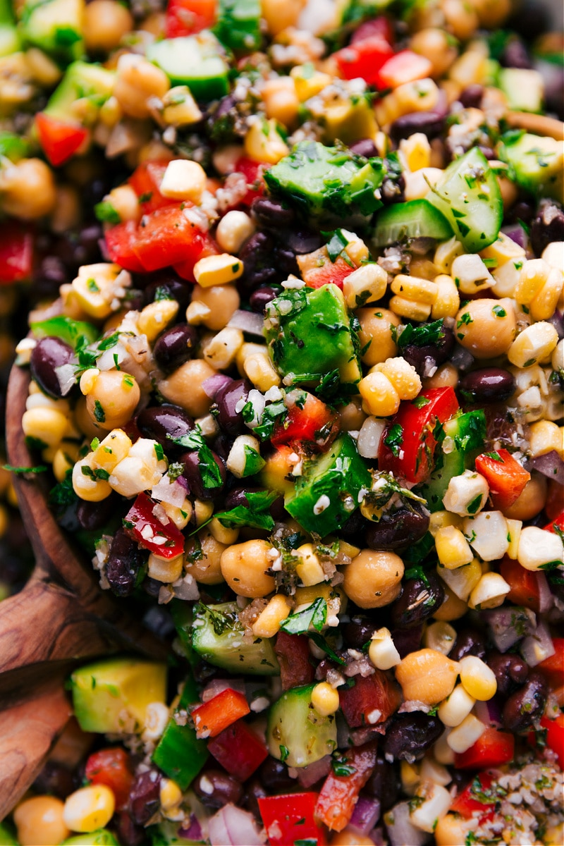 Up-close overhead image of Garbanzo Bean Salad mixed together and ready to be served.