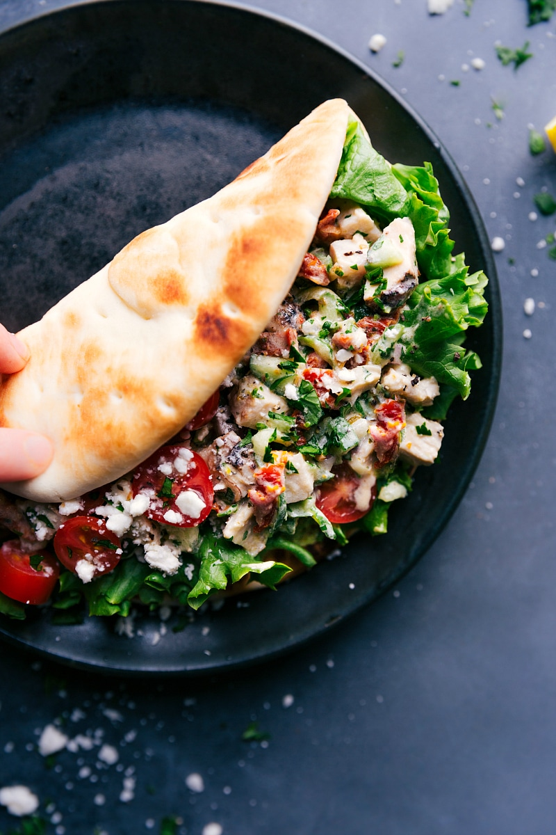 Overhead of Greek Chicken Wrap on a plate.