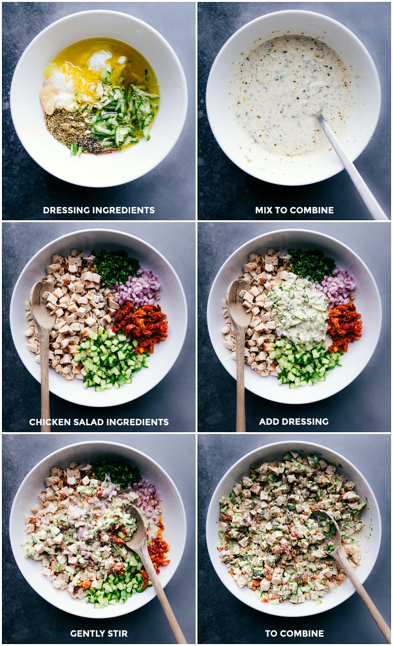 Process shots for Greek Chicken Wraps: combining the dressing ingredients; combining the salad ingredients; mixing all to combine.
