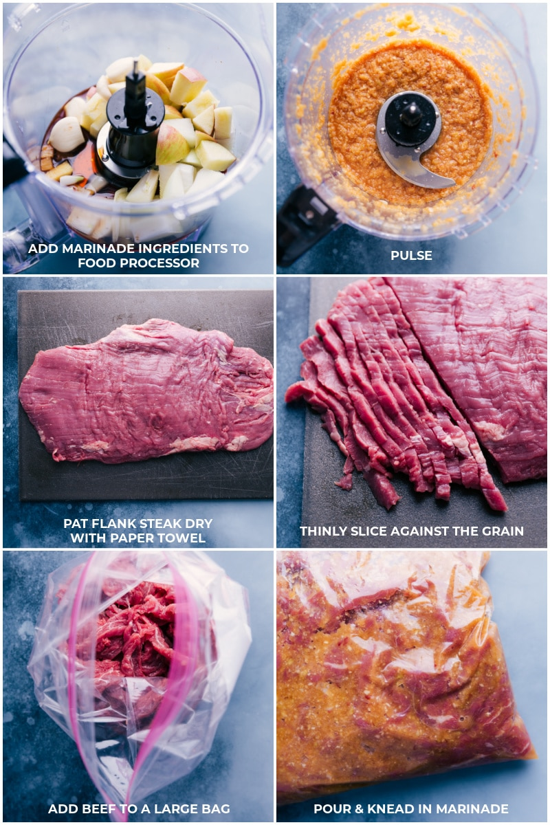 Process shots: make marinade in the food processor; pat flank steak dry, slice against the grain; add beef to plastic bag along with the marinade.