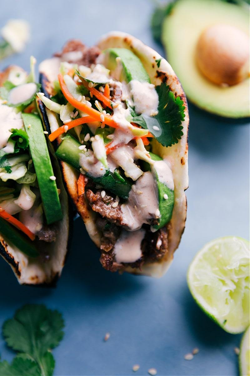 Close-up image of Korean Beef Tacos.