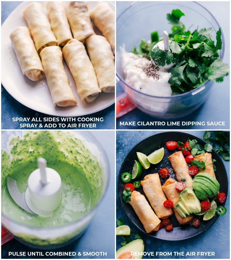 Process shots: spray all sides of the eggroll with cooking spray; make cilantro-lime dipping sauce; remove egg rolls from the air fryer and serve.