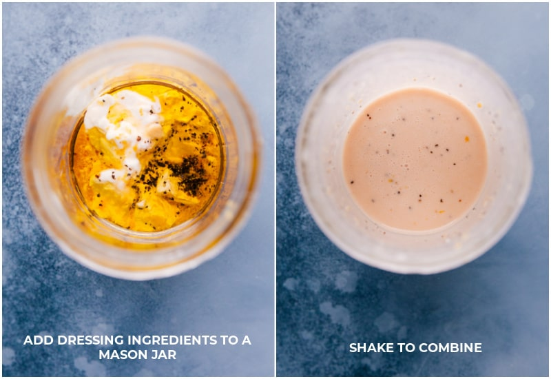 Views of the dressing ingredients before and after combining.
