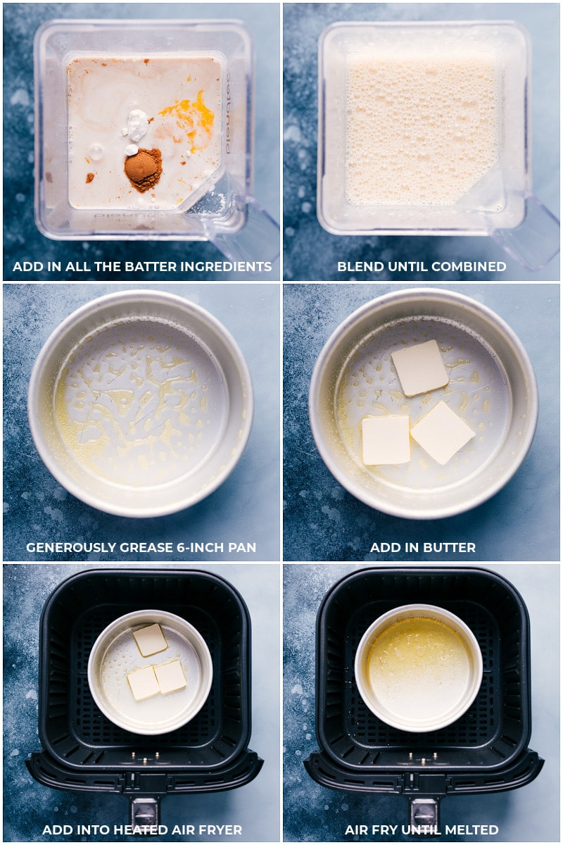 Process shots of how to create Air Fryer Dutch Baby batter.