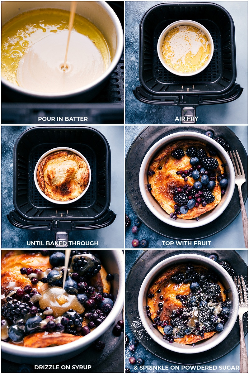 Process shots of cooking the Air Fryer Dutch Baby.
