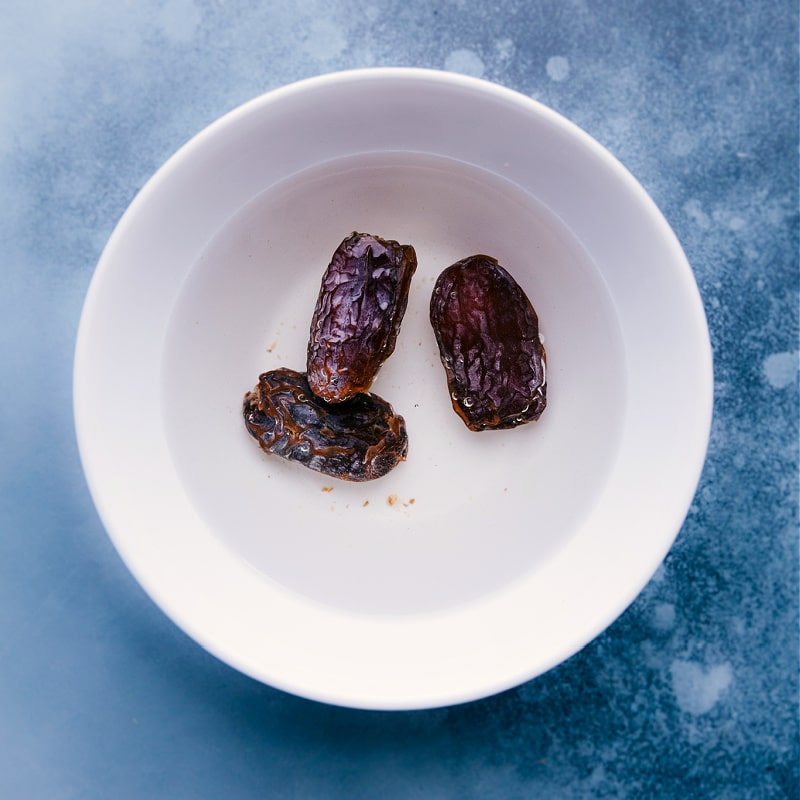 Process shots-- images of the dates being soaked before adding to recipe.