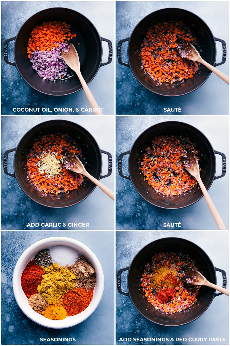 Process shots: Sautee coconut oil, onion and carrot; add garlic and ginger; add seasonings.