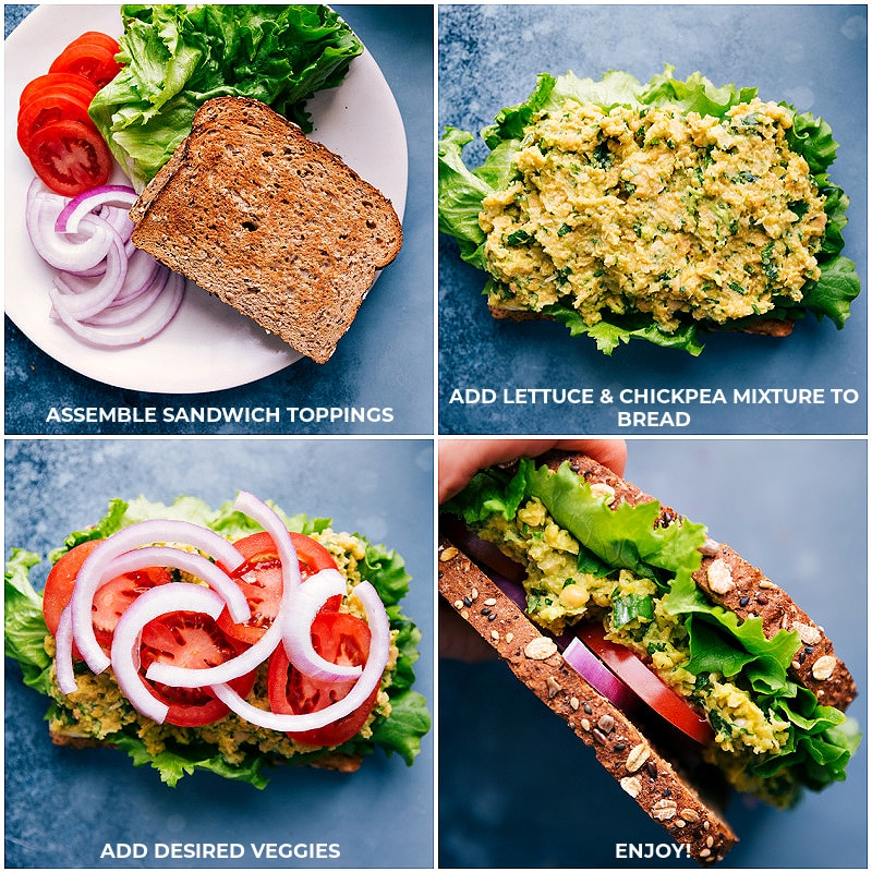 Assembling Chickpea Salad Sandwiches
