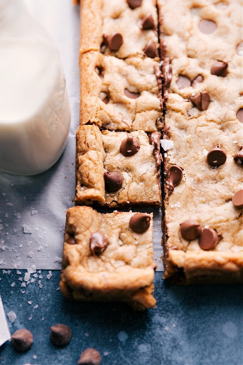 Up-close image of Cookie Bars cut and ready to be served.