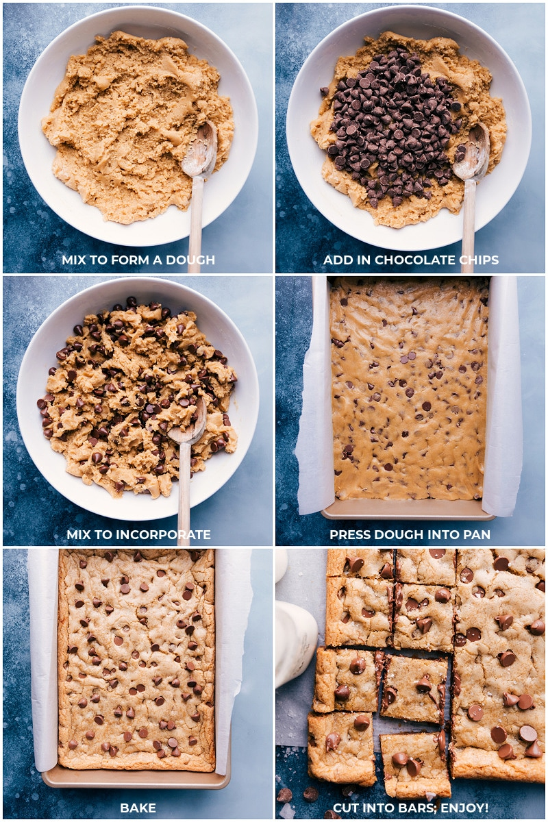 Process shots-- images of the chocolate chips being added to the dough; spreading it into the pan; baking and cutting into bars.