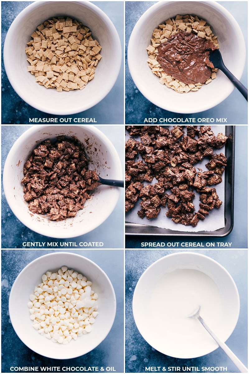Process shots-- images of the chocolate being added to the Chex cereal and mixed together; white chocolate being melted.