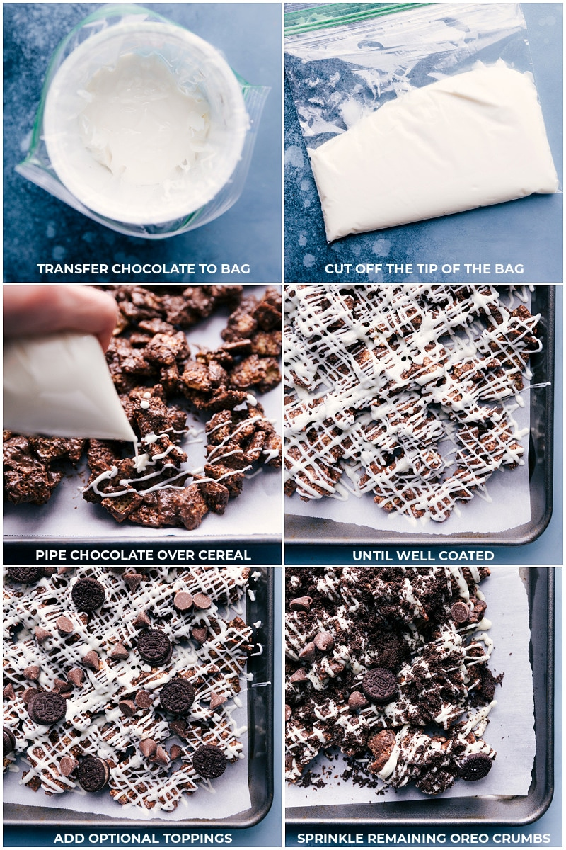 Process shots-- images of the melted white chocolate being drizzled over the Cookies and Cream Muddy Buddies and additional toppings being added.