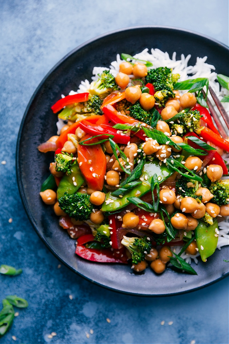 Overhead image of General Tso Chickpeas over a bed of rice.