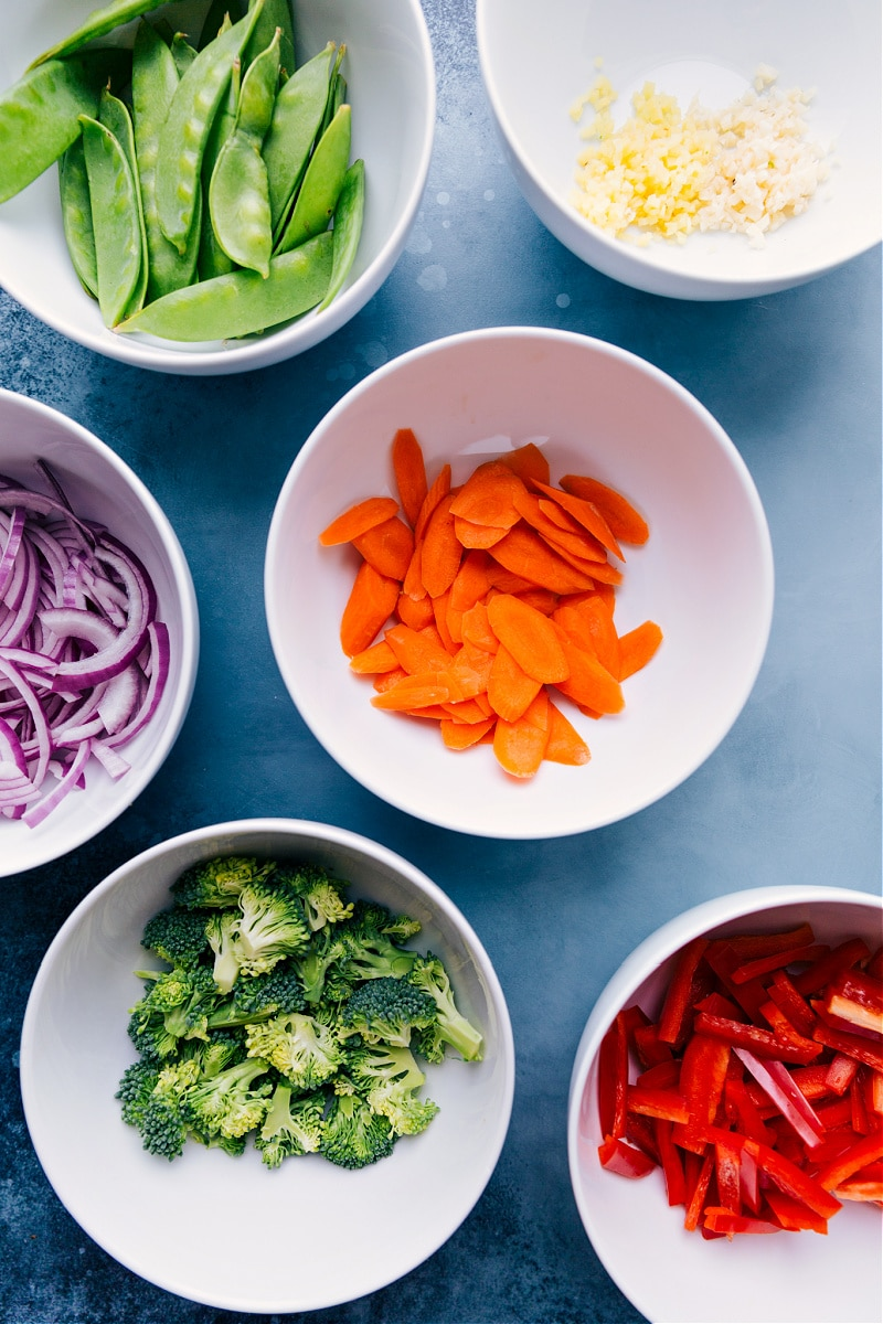 Ingredient shots-- images of all the fresh veggies chopped and prepped to be cooked.