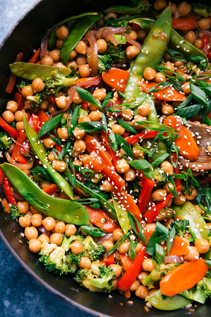 U- close image of General Tso Chickpeas in the pan.