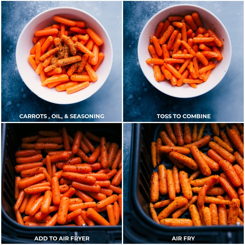 Process shots: Combine carrots with oil and seasoning; add to the air fryer; cook.