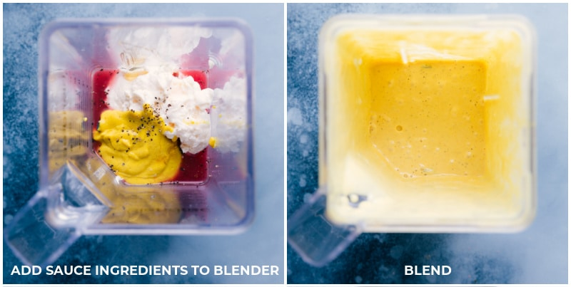 Images of the honey mustard sauce before and after blending.