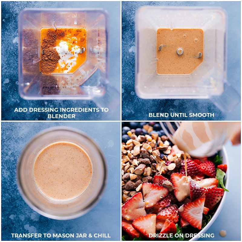 Process shots: make dressing by adding all ingredients to a blender; process until smooth; chill; pour over salad.