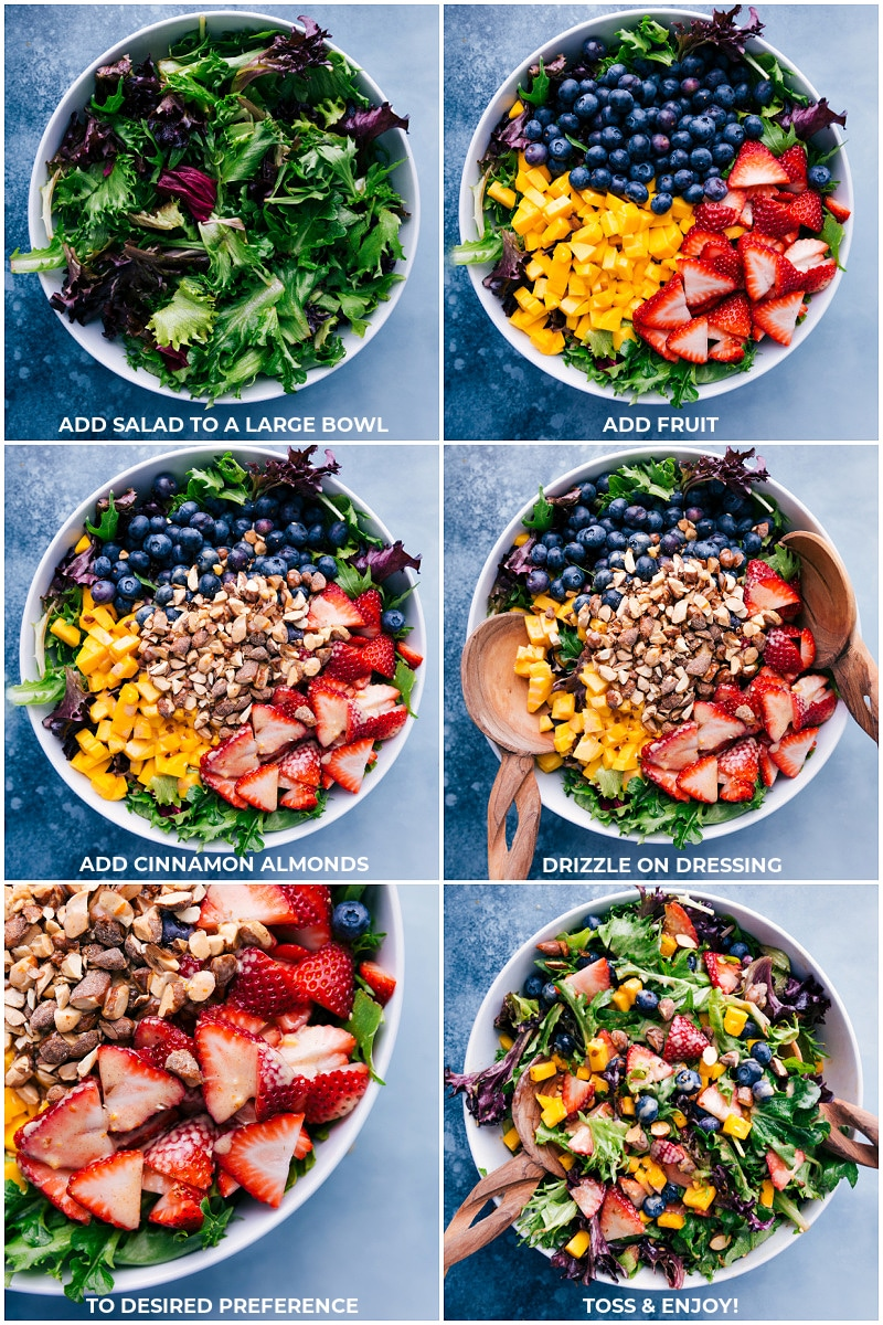 Process shots: add salad to a large bowl and add fruit; add cinnamon almonds; drizzle on dressing; toss and enjoy.