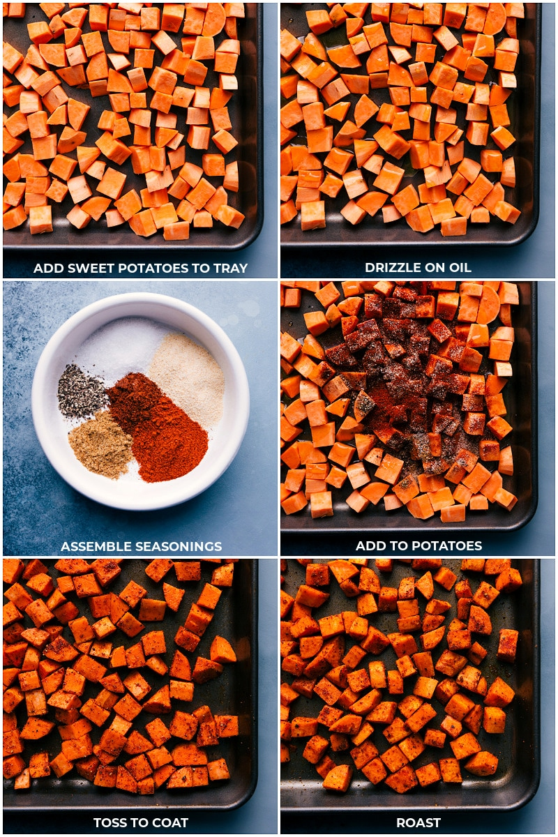 Process shots of prepping and roasting sweet potatoes.