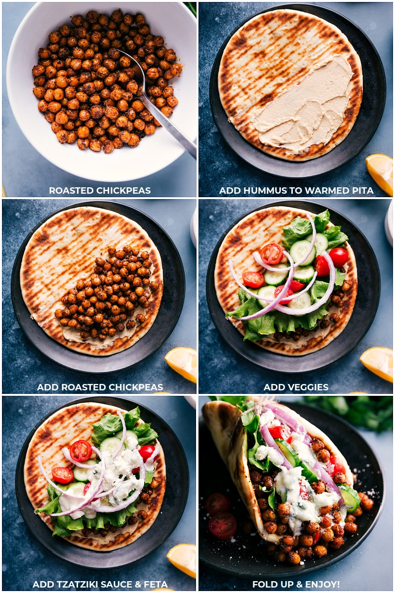 Process shots for making Vegetarian Gyros: Add hummus to warmed pita; add roasted chickpeas, veggies and Tzatziki sauce; fold and serve.