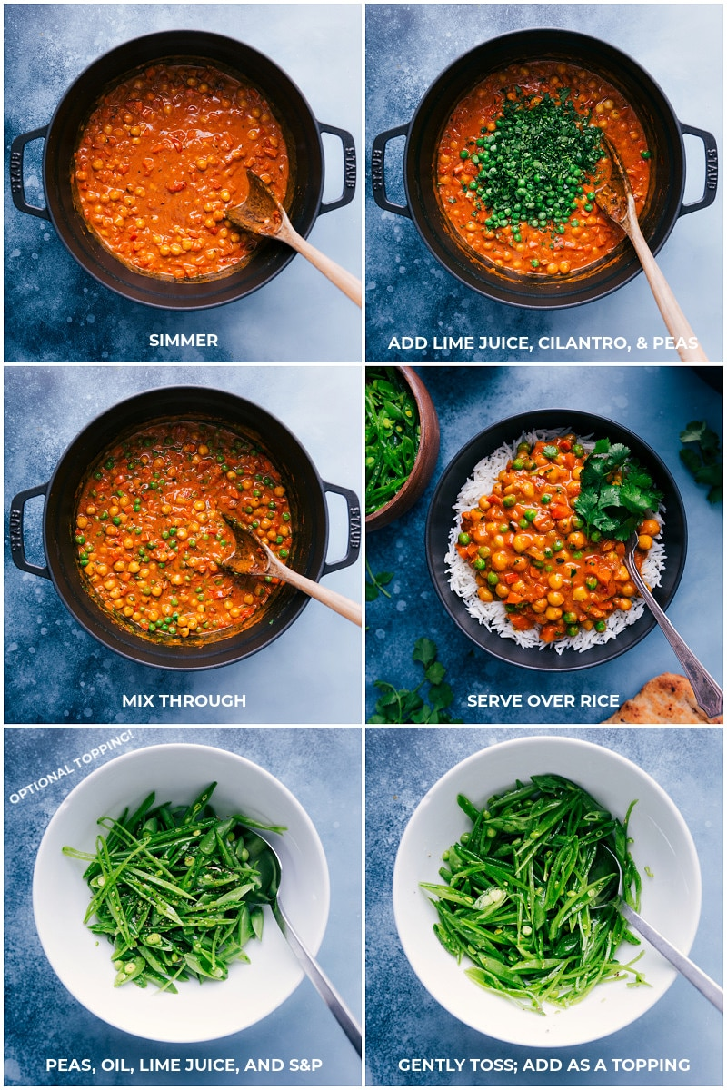 Process shots-- images of the vegetarian tikka masala being simmered, then the lime juice, cilantro, and peas being added and mixed together and it all being served over a bed of rice with snap peas as a topping