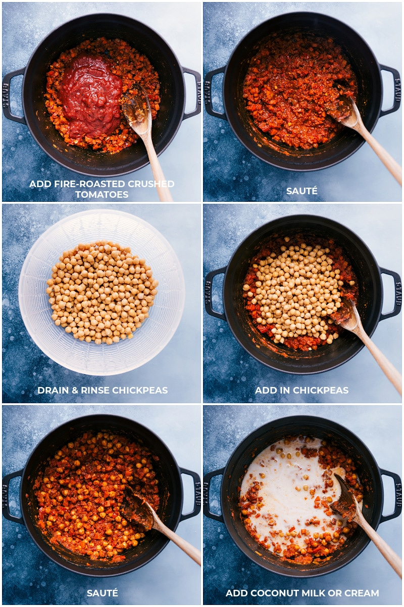 Process shots-- images of the tomatoes, chickpeas, and coconut milk being added and mixed together.