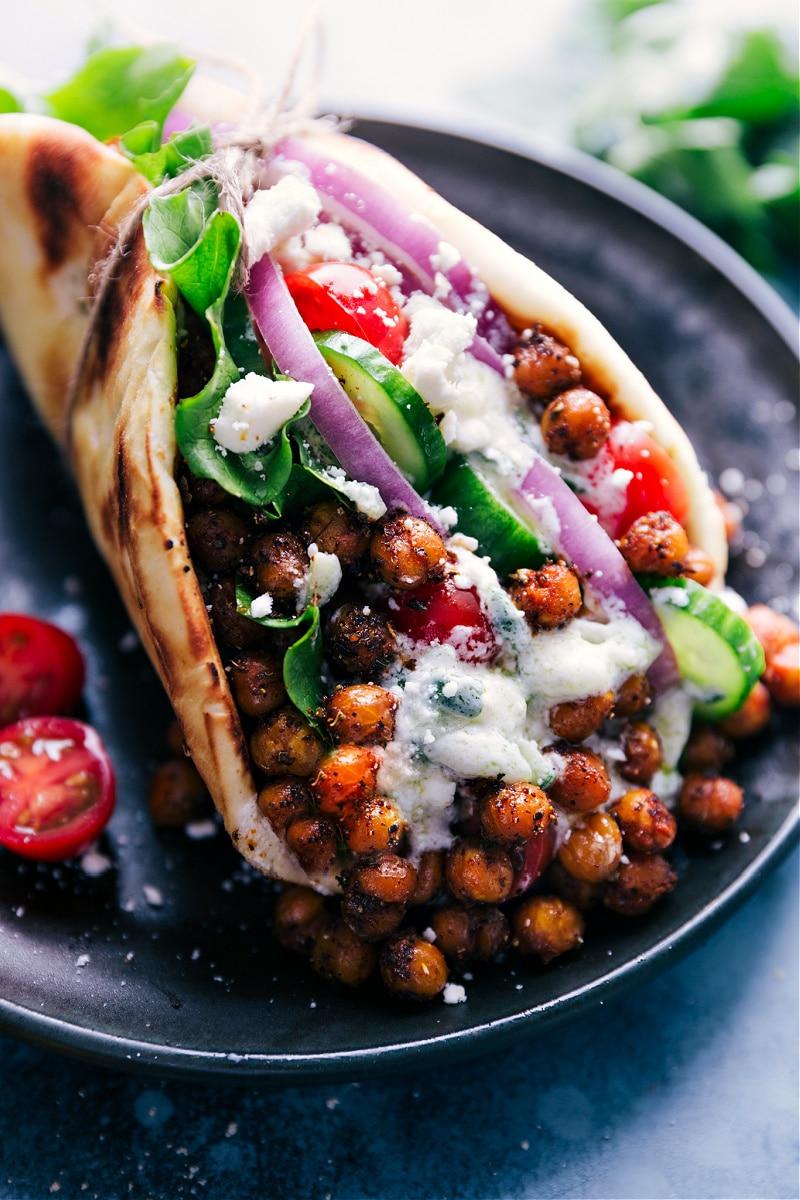 Close-up image of Vegetarian Gyros.