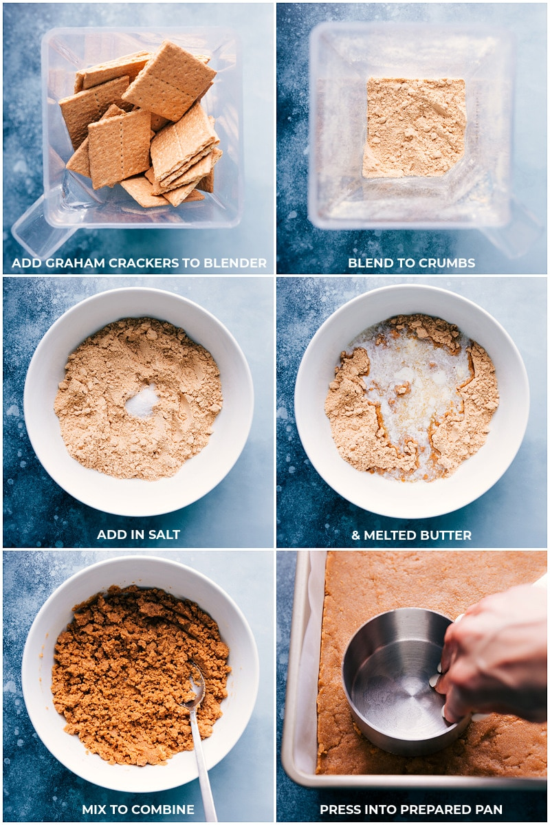 Making the graham cracker crust for 7 Layer Bars: process shots.