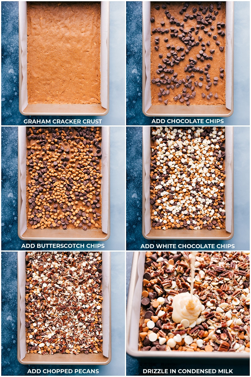 Process shots: adding the ingredients to the pan of 7 Layer Bars