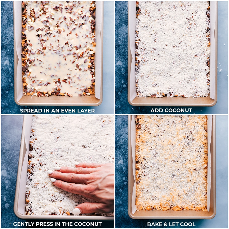 Process shots: the final steps in making 7 Layer Bars-- adding the coconut and baking it