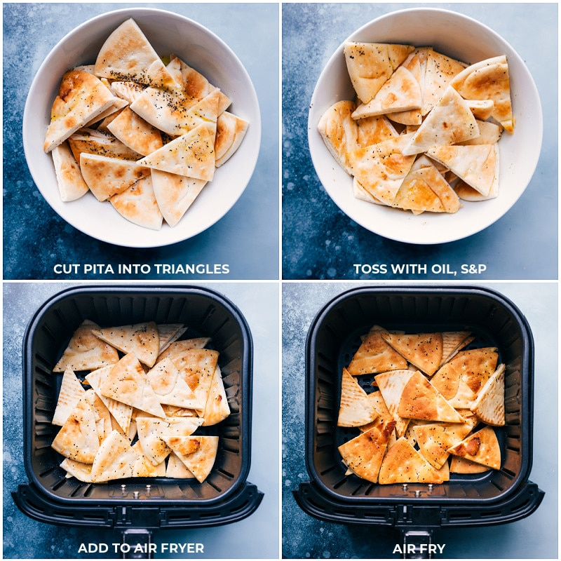 Process shots: preparing the pita bread triangles