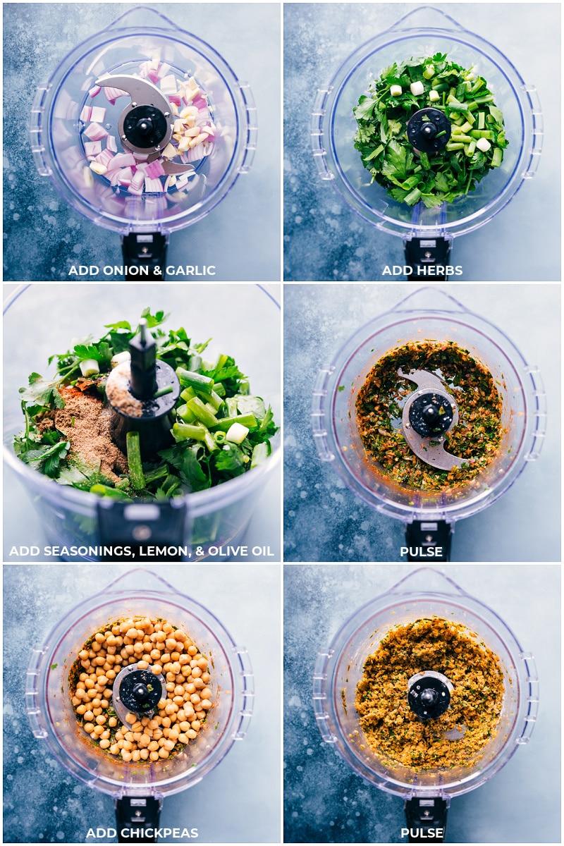 Process shots: creating falafel mixture in the food processor