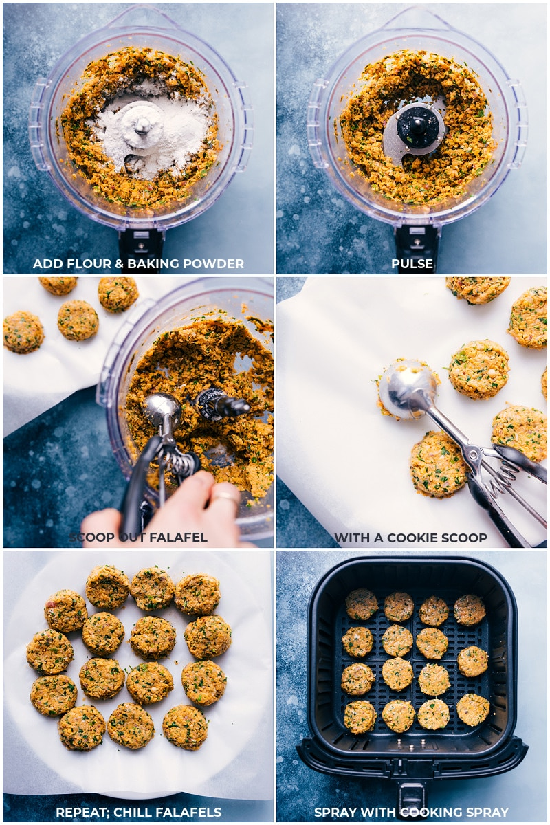 Process shots: making the falafel and air frying them