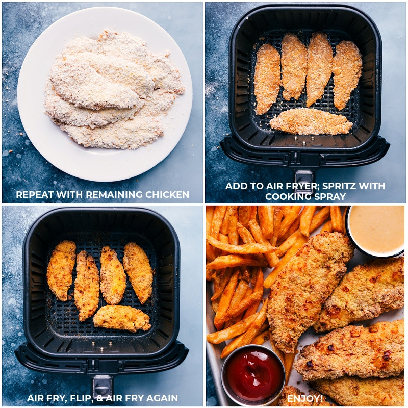 Process shots: cooking the tenders in the air fryer.