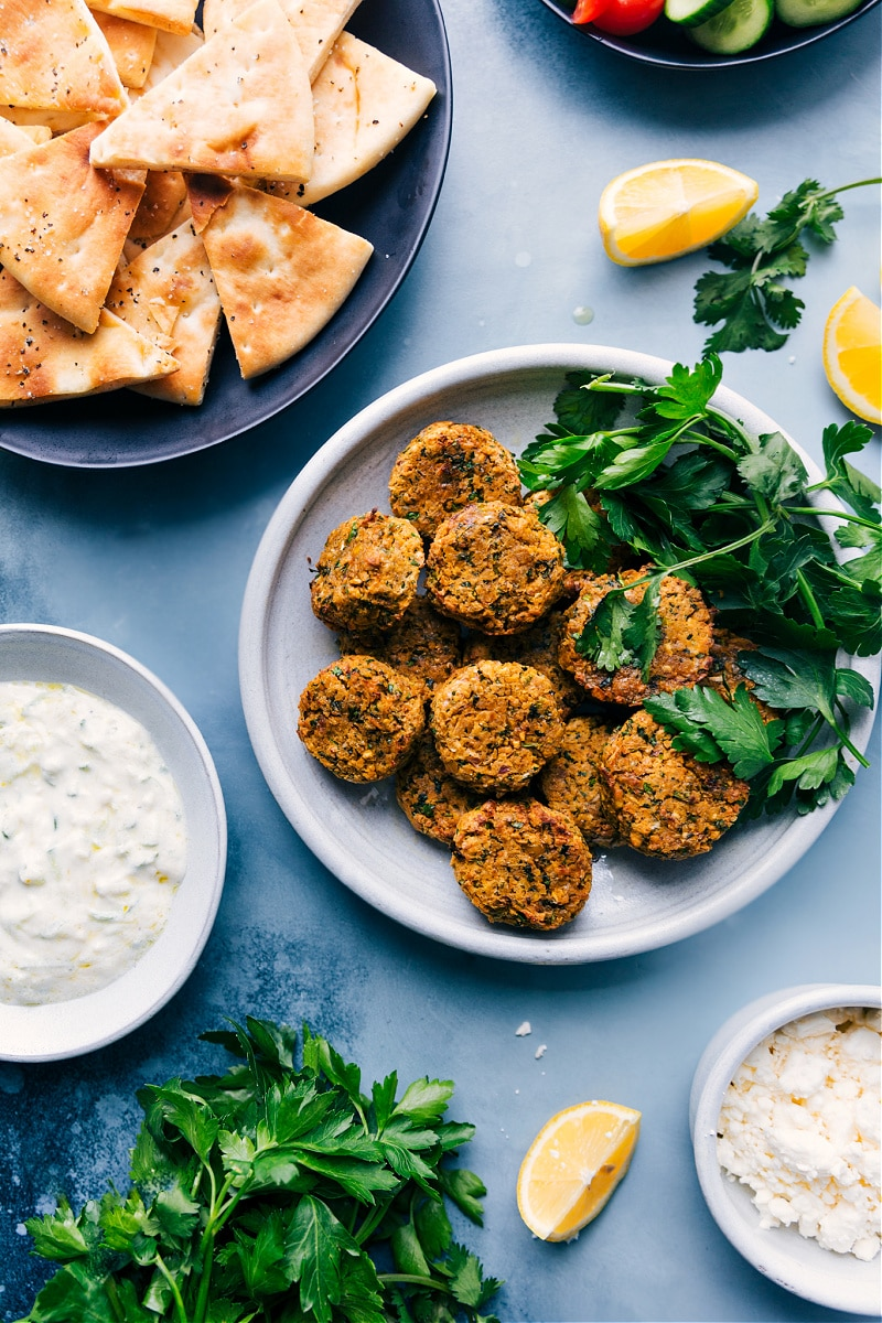Overhead view of Air Fryer Falafels with all the trimmings