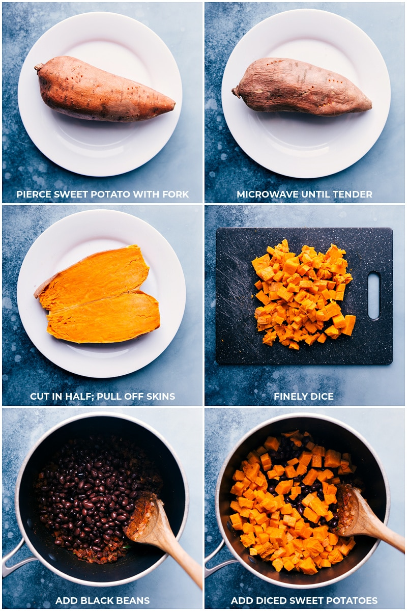 Process shots: preparing the sweet potatoes and adding to the black beans.