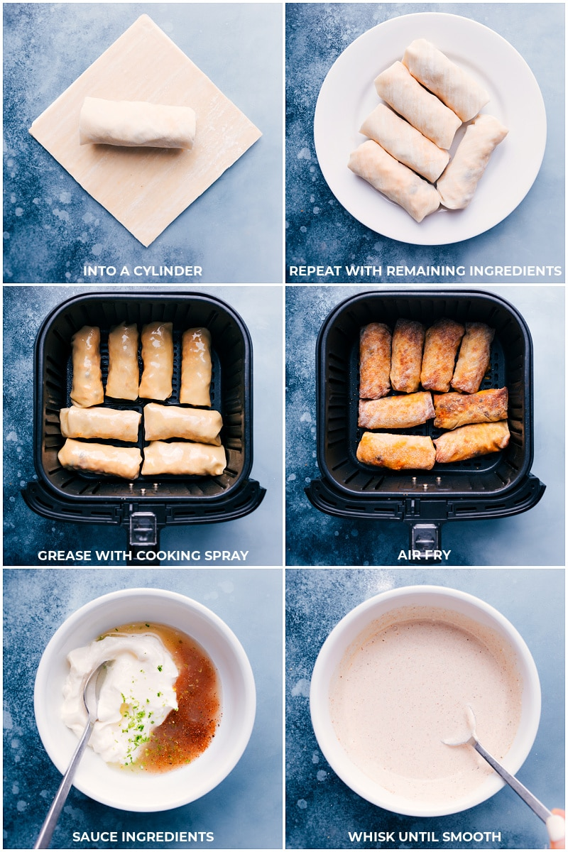Process shots: cooking egg rolls and making the chili-lime sauce