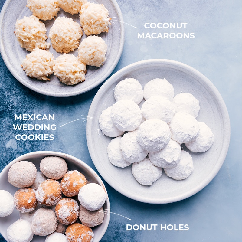 Coconut Macaroons, Donut Holes and Mexican Wedding Cookies on plates that goes into these easter printable