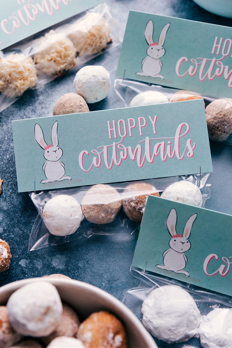 Easter printable attached to bags of donut holes