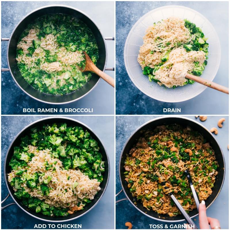 Process shots: adding broccoli and ramen to the dish.
