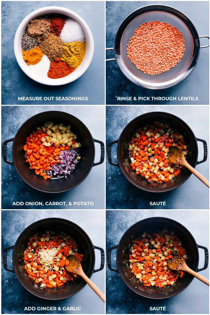 Process shots of the lentils being added to the sautéed veggies and everything being sautéed