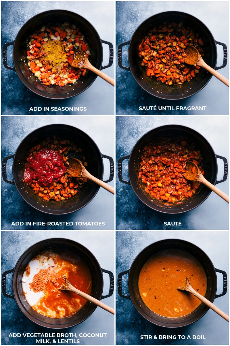 Process shots-- images of the seasonings, tomatoes, broth, coconut milk, & lentils being added