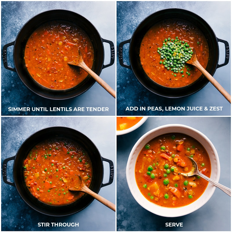 Process shots for the final steps in making Curry Lentil Soup.