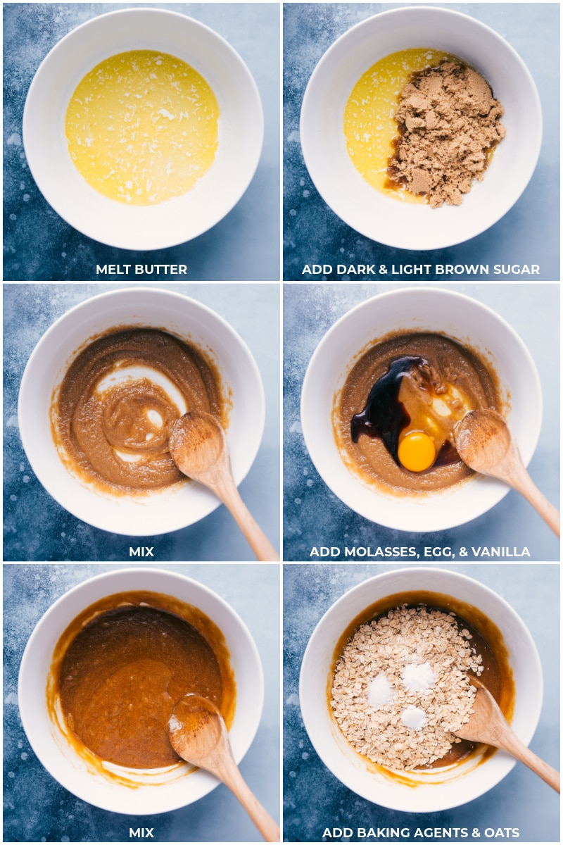 Process shots: mixing together butter and sugars, then adding molasses, egg, vanilla, baking agents, and oats