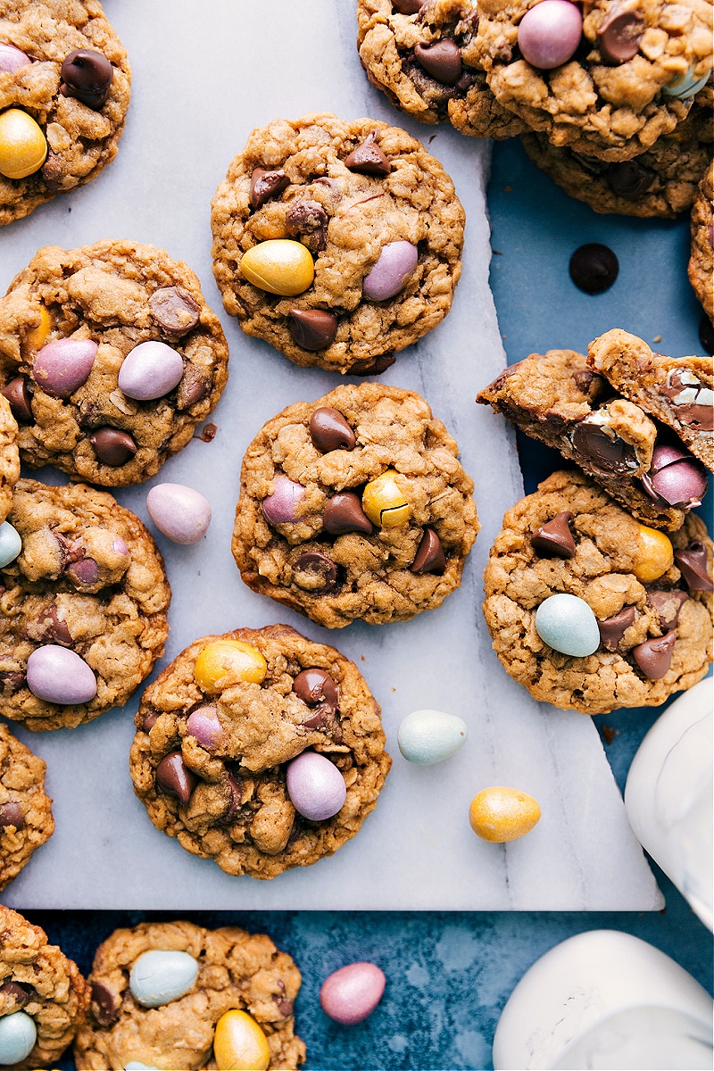 A batch of Easter Cookies on a marble slab.